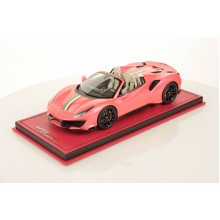 Ferrari 488 Pista Spider Metallic Pink with Italian Stripe - One Off Limited 1 pcs by MR