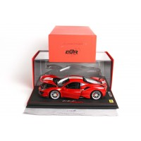 Ferrari 488 Pista Red Rosso Corsa Fully Open in Resin (Carbon Base) - Limited 288 pcs with Display Case by BBR
