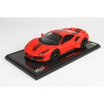 Ferrari 488 Pista Rosso Opaco Red in Carbon Base - Limited 24 pcs with Display Case by BBR