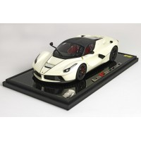 Ferrari Laferrari Matt Fuji White on Carbon Base - Limited 12 pcs with Display Case by BBR
