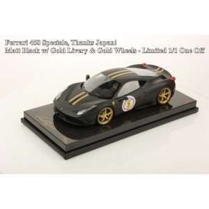 Ferrari 458, Speciale, Thank Japan, Matt Black w/Gold Livery, Carbon Base - One Off by MR Collections